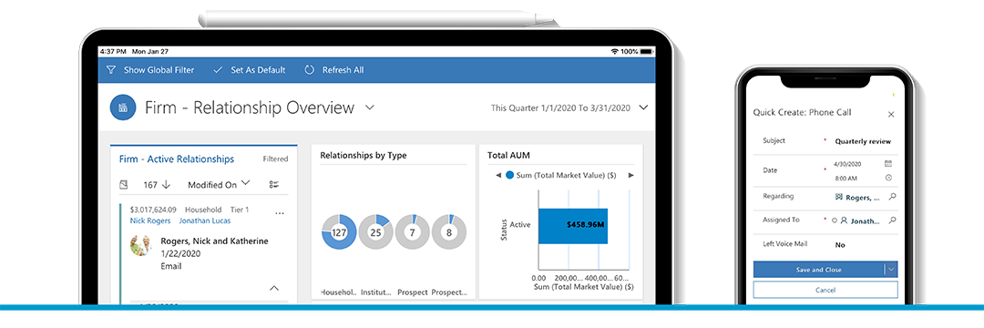 Elements CRM for Asset Managers works on tablets and mobile devices